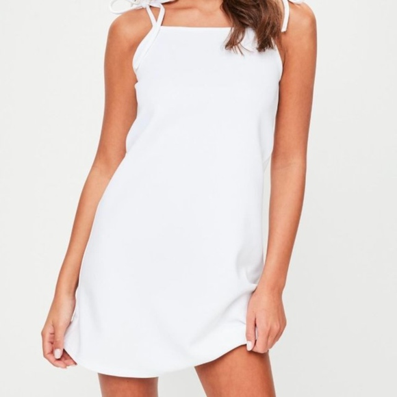 MISSGUIDED blue tie strap cami shift dress size 14